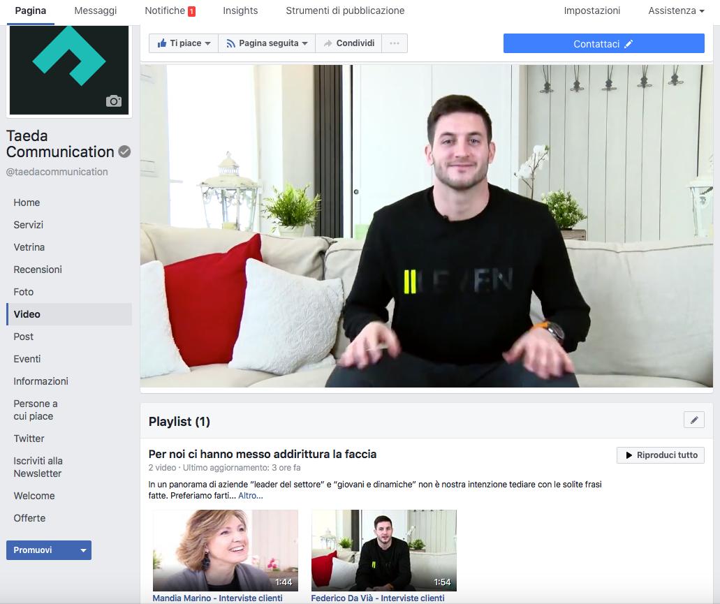 video-evidenza-playlist-facebook-taeda-communication